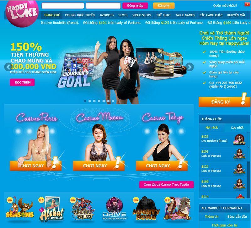 Trải nghiệm sòng bài Las Vegas tại casino trực tuyến Happyluke